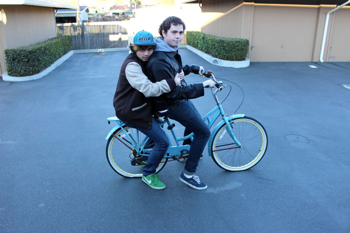 Tyler and Bobby on a bike